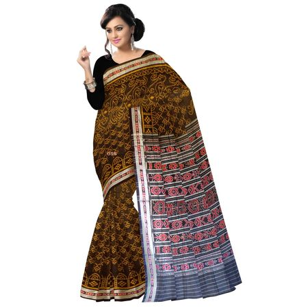OSS1012: Black with Golden color Handloom cotton saris for puja wear