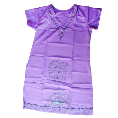 OSS300023: Violet color Odisha patachitra painted ladies dress for young girl's.