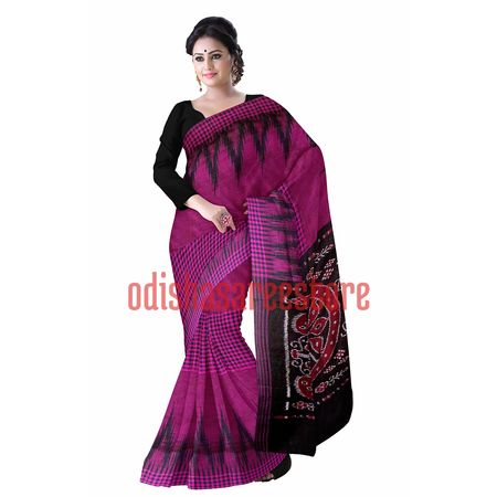 OSS430: Magenta cotton saris weaved by sambalpur expert weavers.