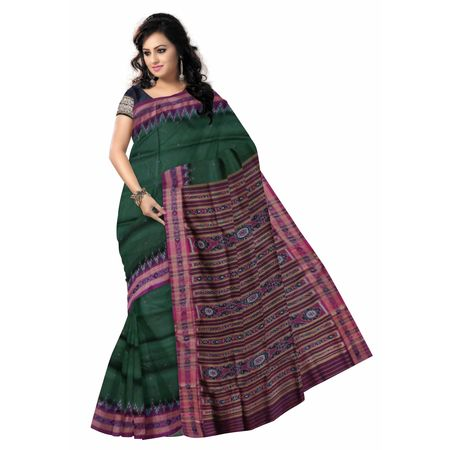 OSS5105: Green With Pink handloom silk saree for festival wear