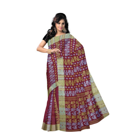 OSSWB9037: Maroon with Light Golden Border West Bengal Jamdani Cotton Saree.