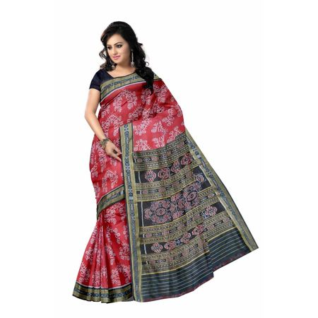 OSS3275: Maroon color Handwoven Traditional Odisha sambalpuri Silk saree for bridal wear