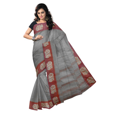 OSSWB9011: Light Tusser with maroon color handwoven West Bengal cotton saree
