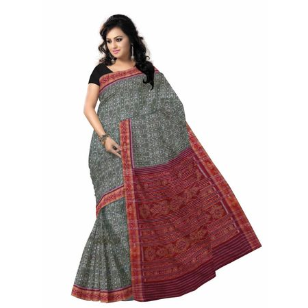 OSS7558: Grey with Maroon Special design Handwoven cotton sarees of odisha.