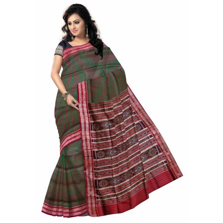 OSS5113: Fish Motif's Green Handloom silk saree online shopping.