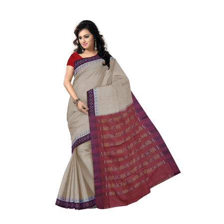 OSS6175: Light Beige with Maroon handloom sambalpuri cotton saree for puja wear