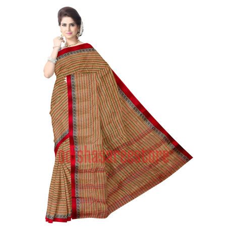 OSSWB075: Beautiful Lining design cotton sarees of West Bengal.