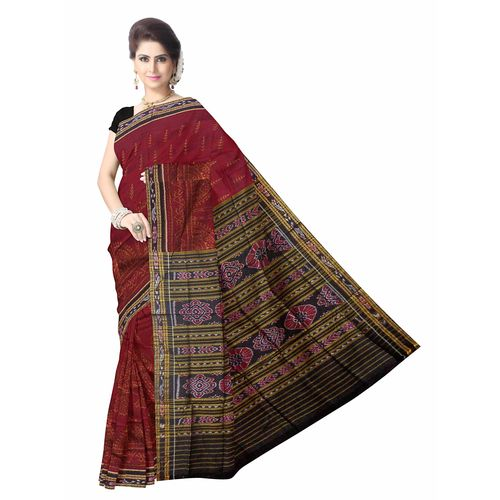 OSS7516: Maroon color handwoven cotton sarees for party wear.