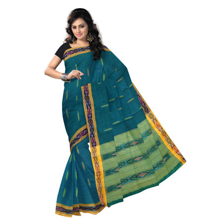 OSSTG007: Green handwoven Ponchampally Cotton Saree
