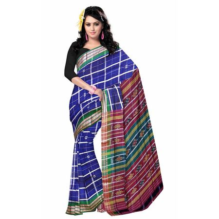 OSS278: Blue color Square Design handloom Cotton Saree