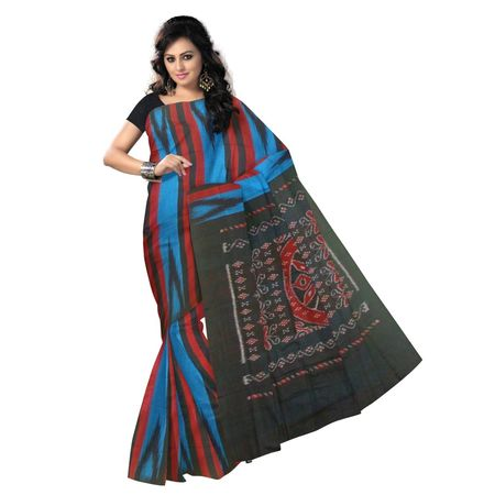 OSS9083: Bue, Back Maroon handwoven Cotton saree.