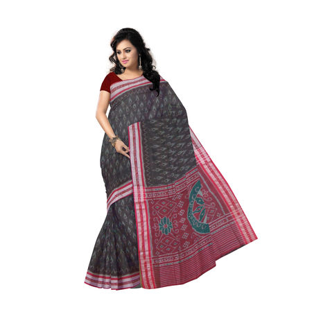 OSS9102: Dark Coffee with Maroon Handloom sambalpuri Cotton Saree.