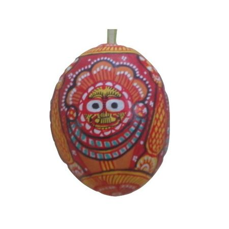 """OHP045: """" Lord Jagannath"""" Art was designed on Coconut shell."""