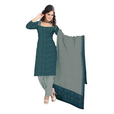 OSS9052: Traditional Green color handloom cotton dress material for puja wear