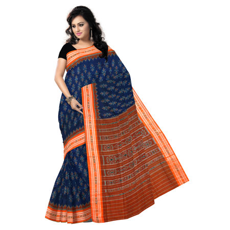 OSS038: Ink Blue with Orange Handloom Cotton Saree for Online Shopping