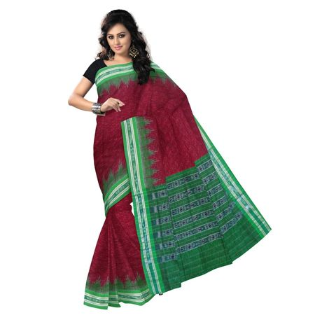 OSS418: Handwoven maroon saree made in orissa for Online Shopping