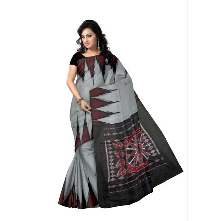 OSS9046: Grey color handloom cotton sarees for office wear
