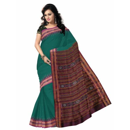 OSS5059: Green Ikat (Tie and Dye) Handwoven Silk Saree of nuapatna.