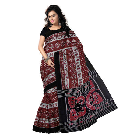 OSS9097: Handwoven Sambalpuri Ikat Cotton Saree in Deep Maroon with Black.