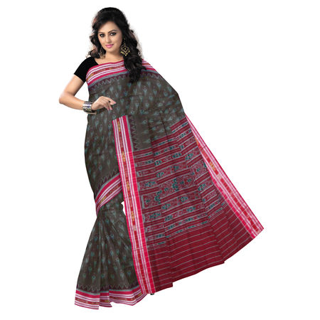 OSS037: Deep Brown with Maroon Handloom Cotton Saree.