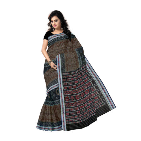 OSS7435: Beautiful design Brown handloom cotton saree.