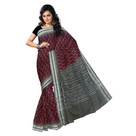 OSS062: Maroon with Grey color Indian Handloom Cotton Saree.