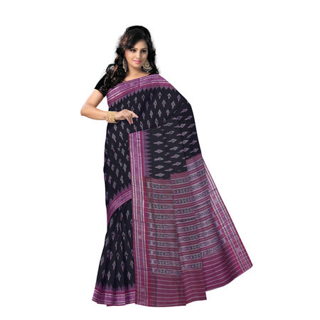 OSS960: Black Handwoven Traditional cotton sarees for diwali festival wear