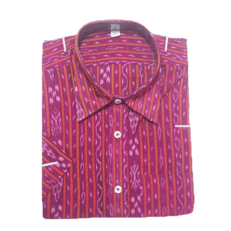 OSS8006: Handloom pink Shirt for Father's gift with cotton fabric