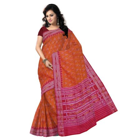 OSS9004: Sunlight Orange handloom cotton sarees for puja wear
