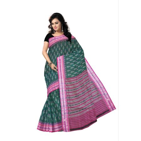 OSS9059: Green with Magenta handwoven cotton sarees for office wear