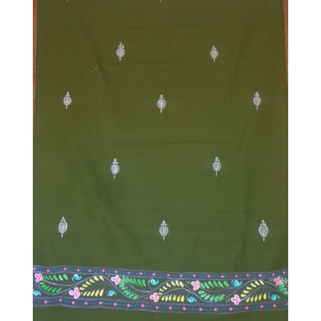 OSS300072: Green color hand-painted patachitra dupatta online shopping.