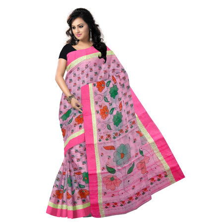 OSSWB9041: Pink Colour West Bengal BLock Print Handwoven Cotton Saree.