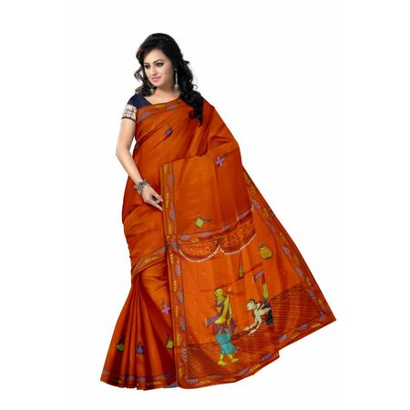 OSS300091: Orange color Handpainted Patachitra Synthetic Silk sareez online shopping.