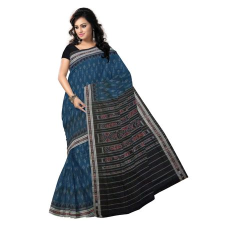 OSS9039: Green with Black color handloom sambalpuri cotton sarees