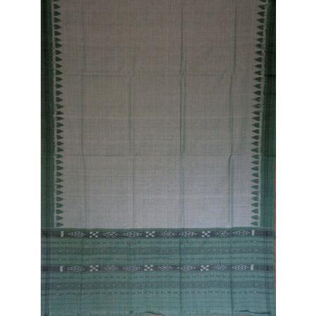 OSS109: Grey with Light sea Green handloom cotton Dupatta