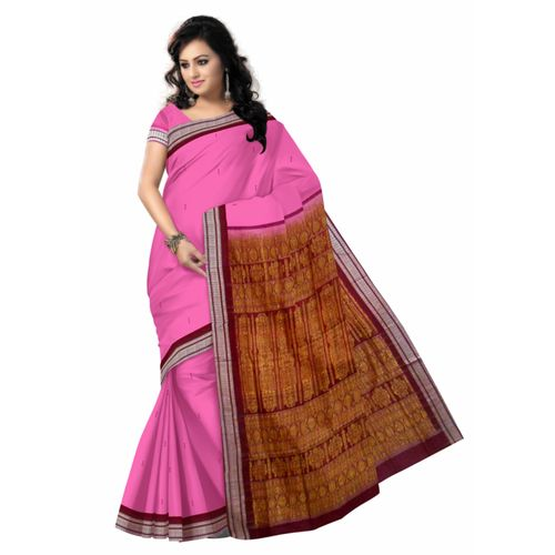 OSS40005: Pink color handwoven Bomkai cotton saree best for Dusshera puja gift