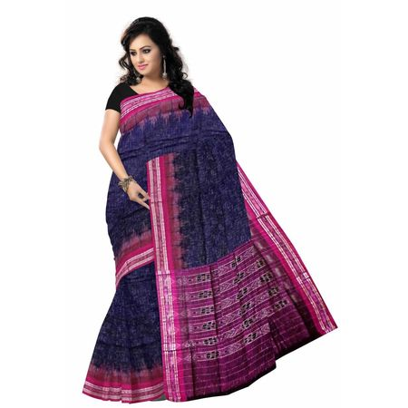 OSS6171: Navy Blue color Handloom sambalpuri cotton saree online