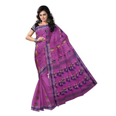 OSSWB9054: Stunning Deep Pink Tant Benarasi Saree of West Bengal
