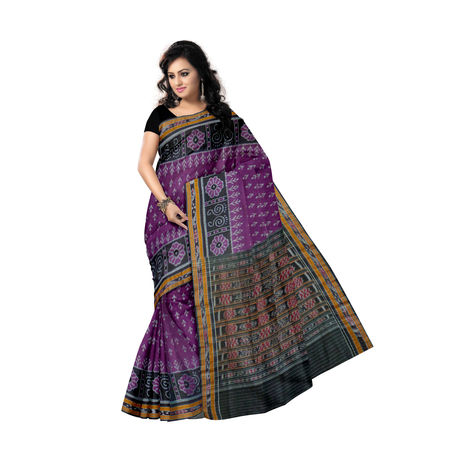 OSS252: Beautiful purple with Black Pure handloom Cotton Saree, purple