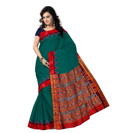 OSS5148: Green color Handloom Ikat Design Silk Saree