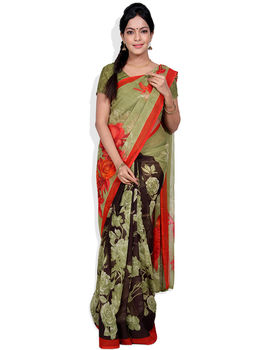 Sridevi Black & Green Colour Saree