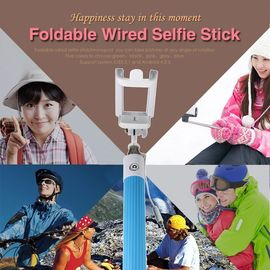 Selfie Stick With 3.5mm Aux Cable Extendable Handheld For Iphone Android Black