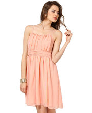 GATHERED DRESS WITH SPHAGETTI STRAPS-DRF1714-PEACH, small, l