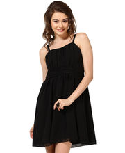 GATHERED DRESS WITH SPHAGETTI STRAPS-DRF1716-BLACK, small, l