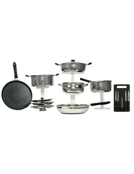 KITCHEN ZONE 7 PCS SS INDUCTION BASE COOKWARE SET WITH CHOPPING SET