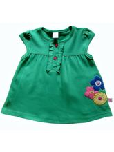 ToffyHouse Bright Green Baby Frock With Flower App...
