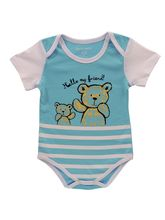 Blue & White Baby Teddy Baby Bodysuit In 100% Soft...