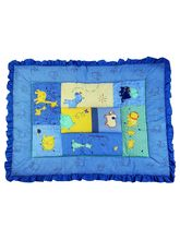 Advance Baby Animal Print Quilt With Frill - Blue