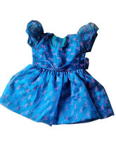 Bright Blue Silk Printed Frock, 12-18 Months