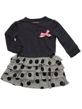 Cute Black & Grey Polka Dot Frock, 24 Months